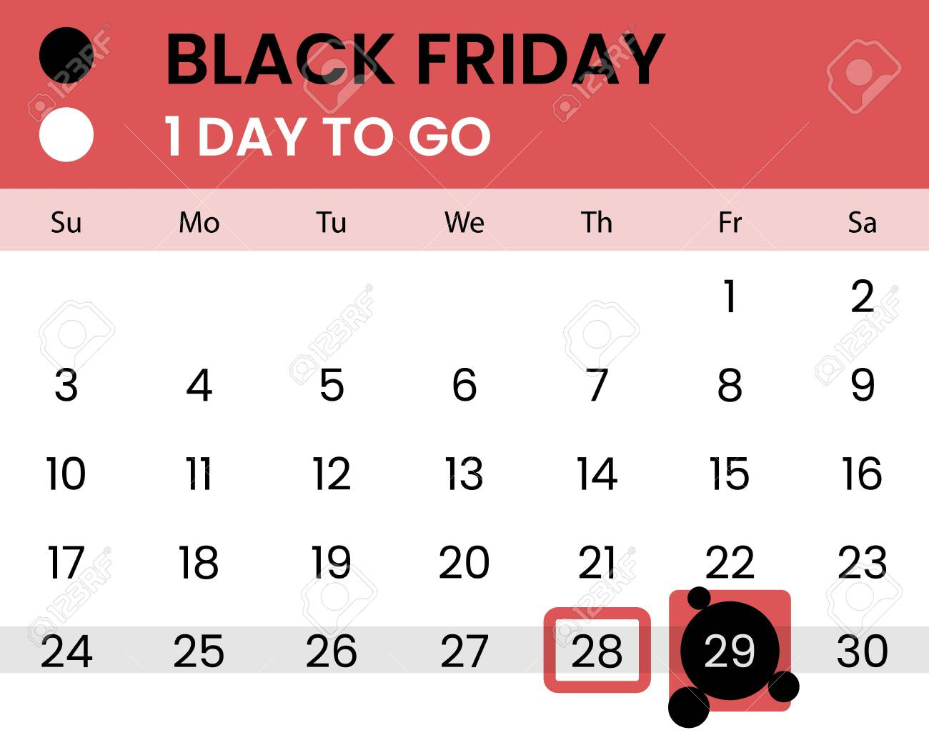 Black Friday Banner As Calendar With Countdown - 1 Day To Go