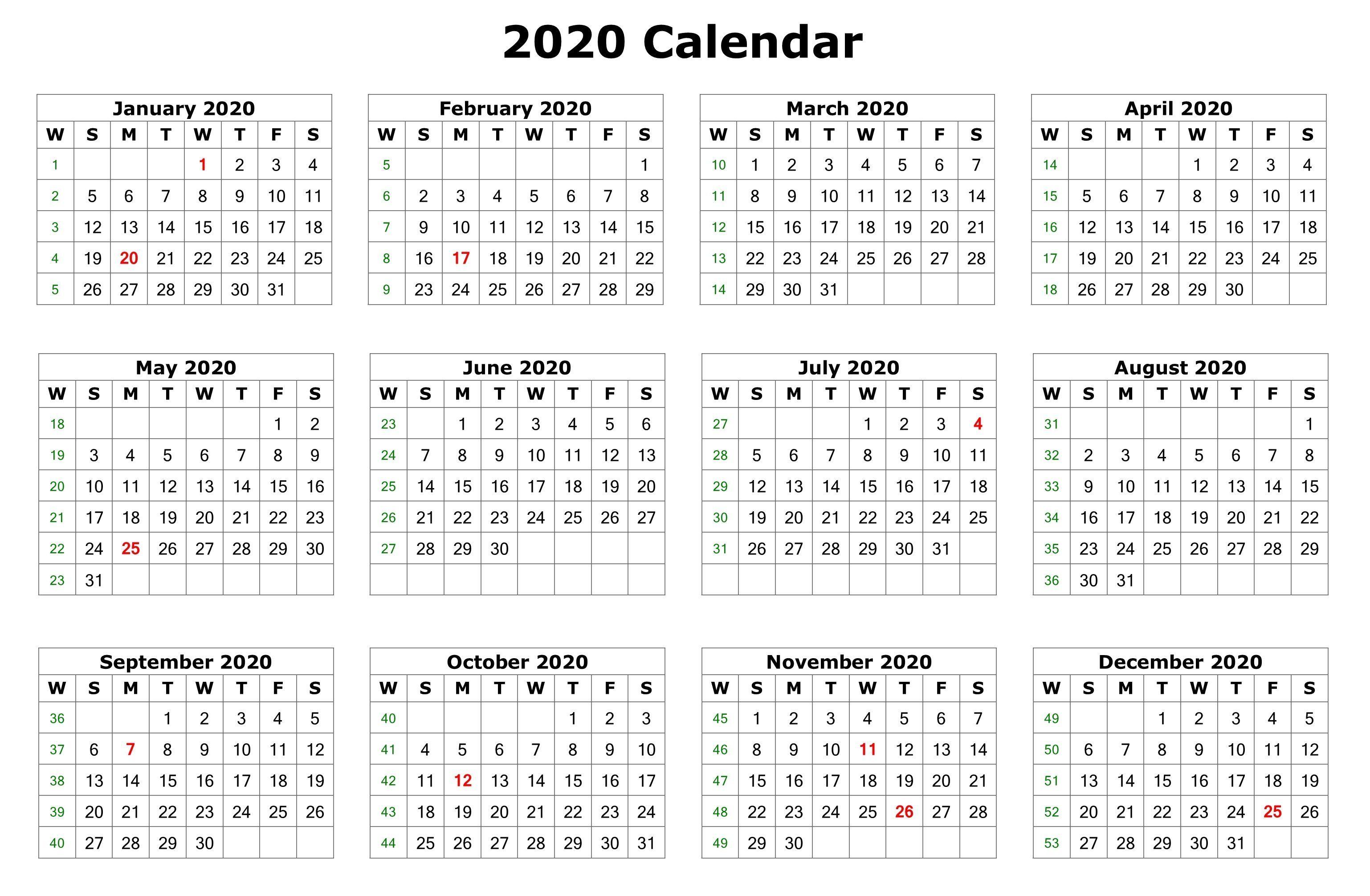 Blank 2020 Calendars - Wpa.wpart.co