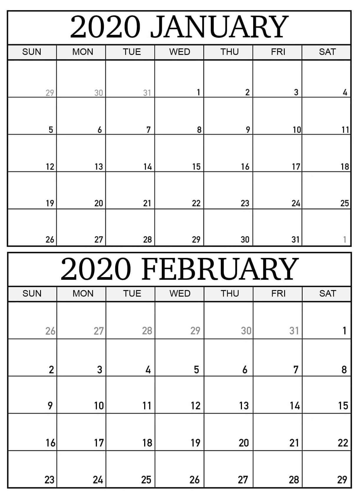 Blank 2020 January February Calendar Word - 2019 Calendars