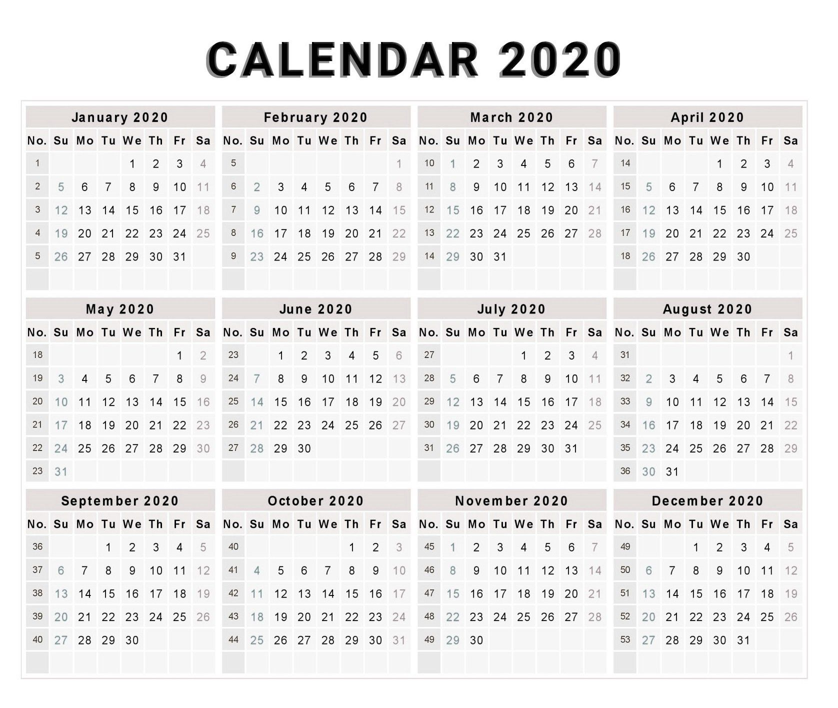 Blank 2020 One Page Calendar Printable | Monthly Calendar