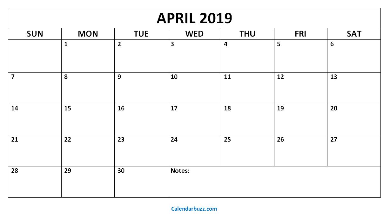 Blank April 2019 Calendar: Download The Free Printable