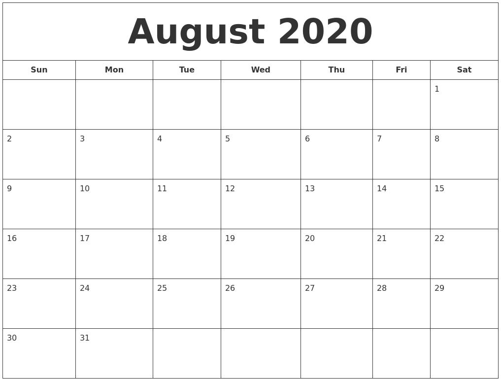 Blank August Calendar 2020 - Wpa.wpart.co