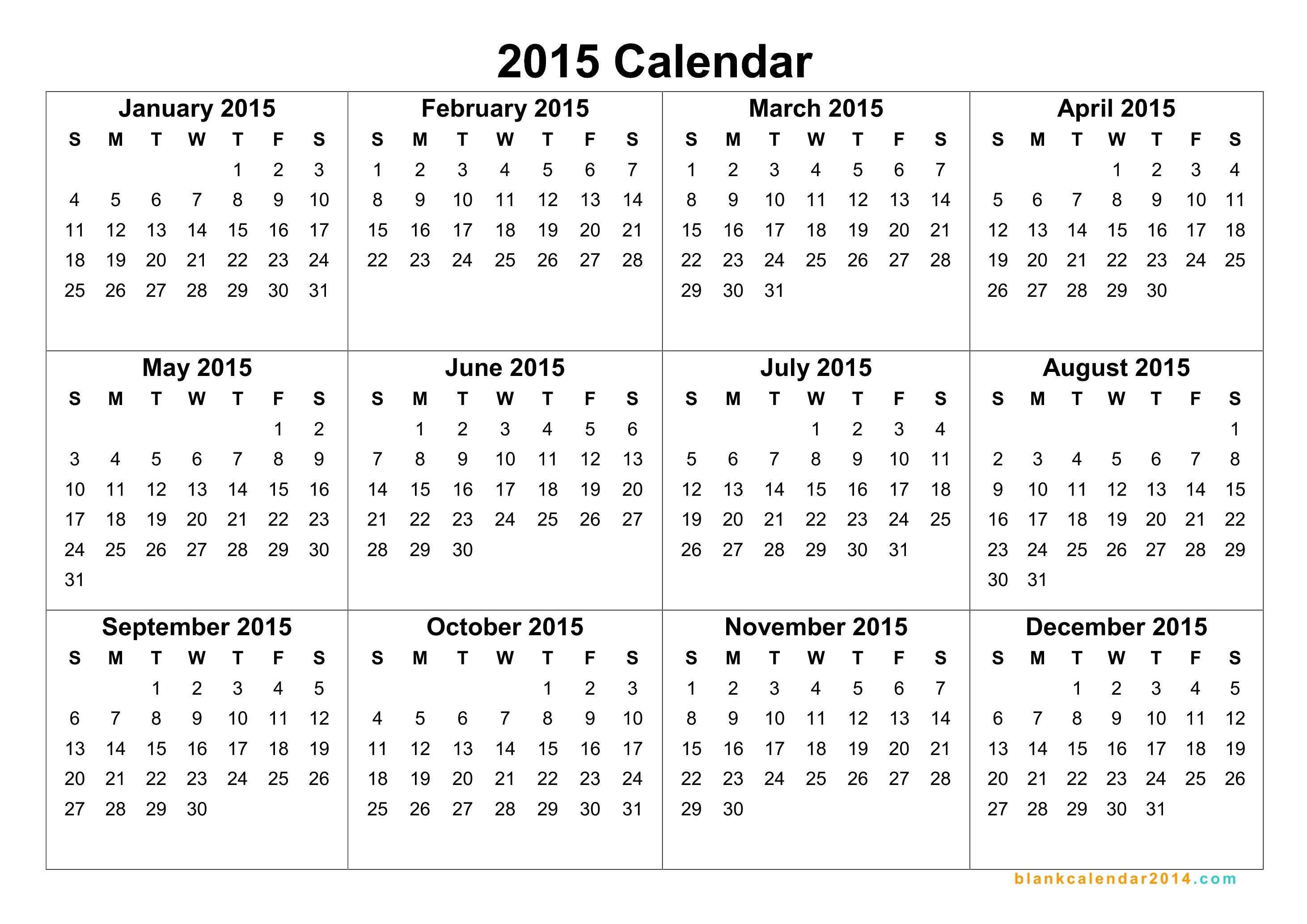 Blank Calendar 2015 - Wpa.wpart.co