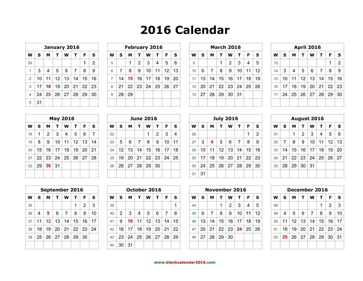 Blank Calendar 2016 | Blank Monthly Calendar, Printable
