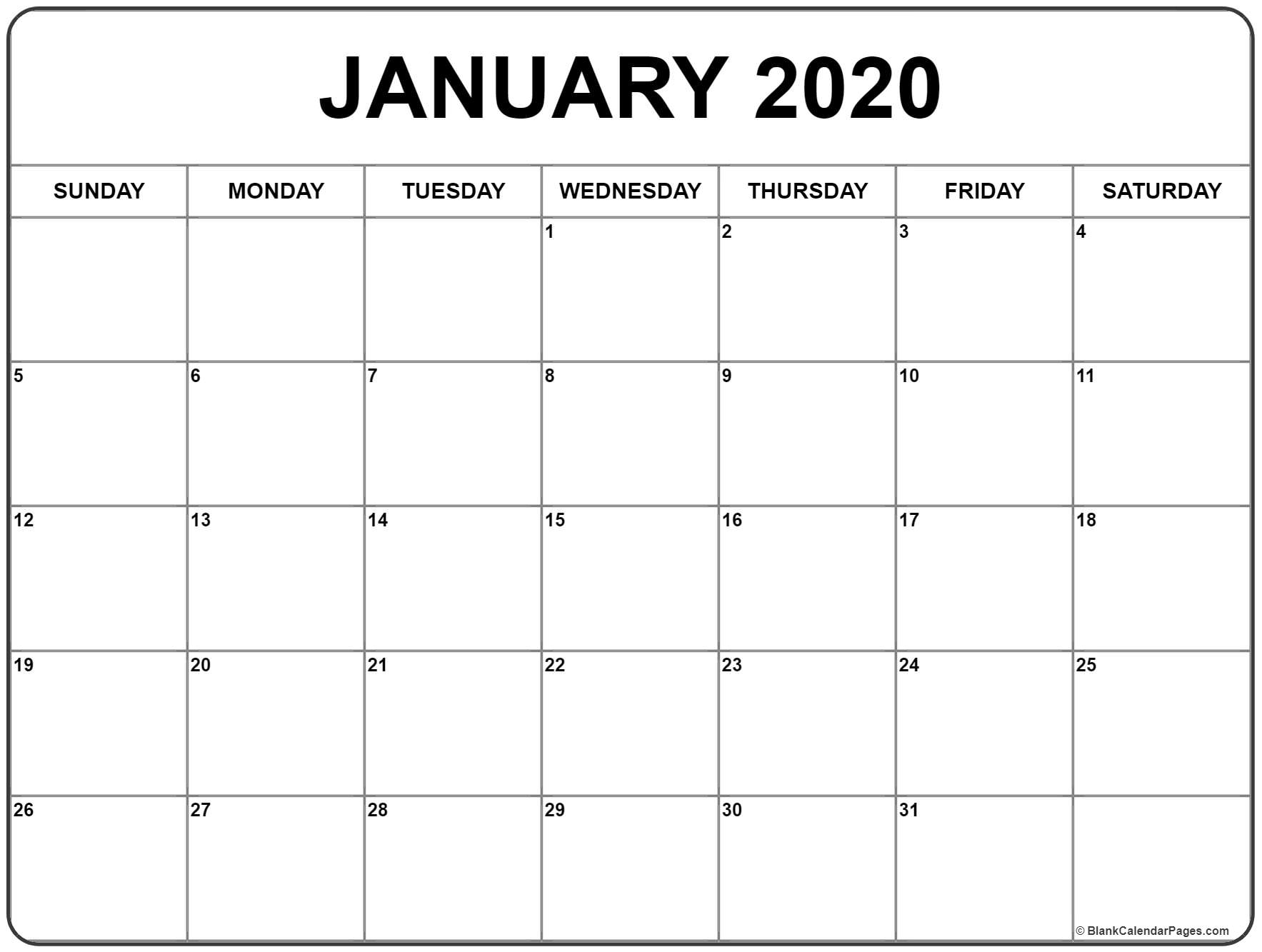 Blank Calendar 2020 Monthly - Wpa.wpart.co