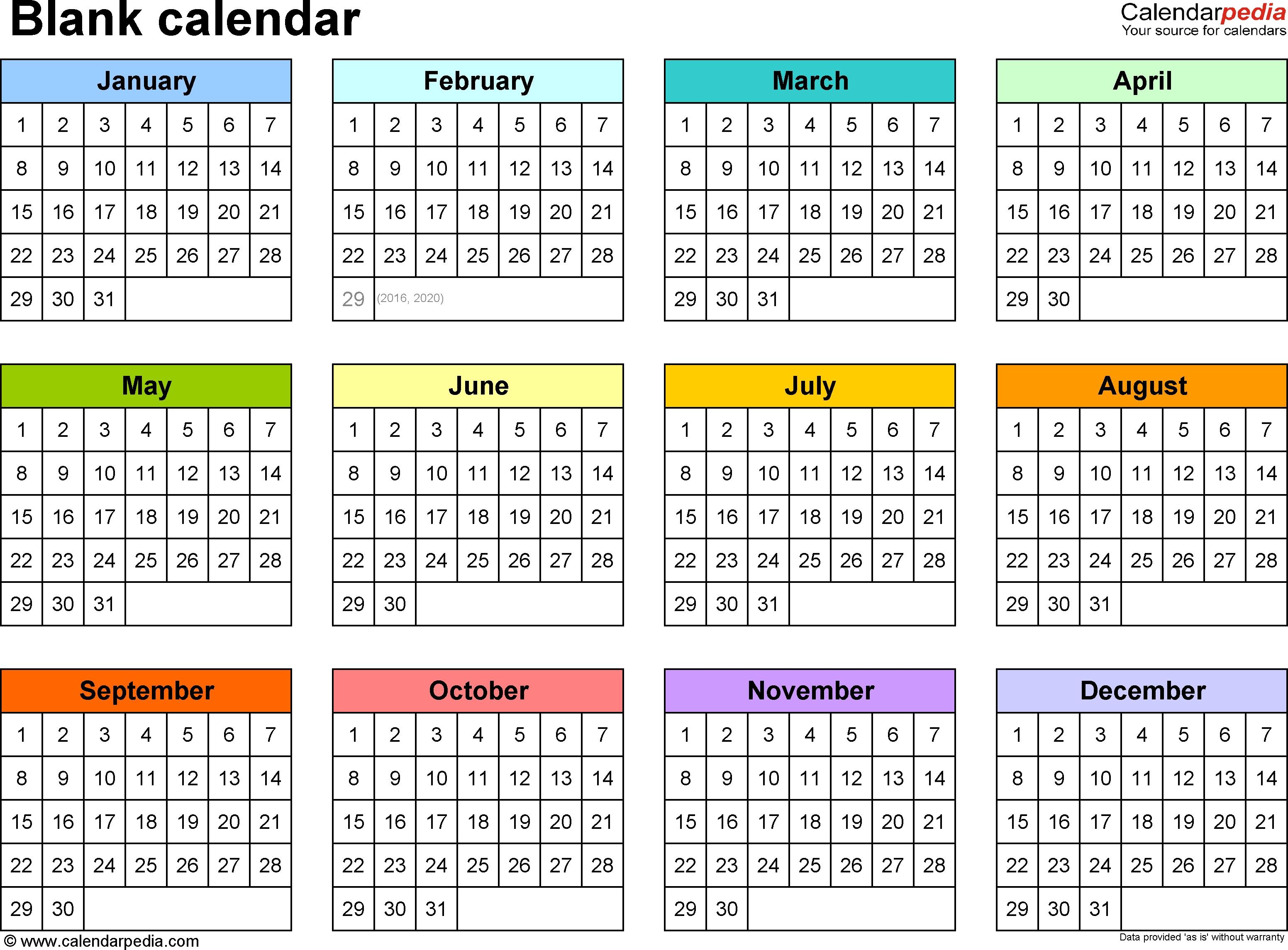 Blank Calendar – 9 Free Printable Microsoft Word Templates