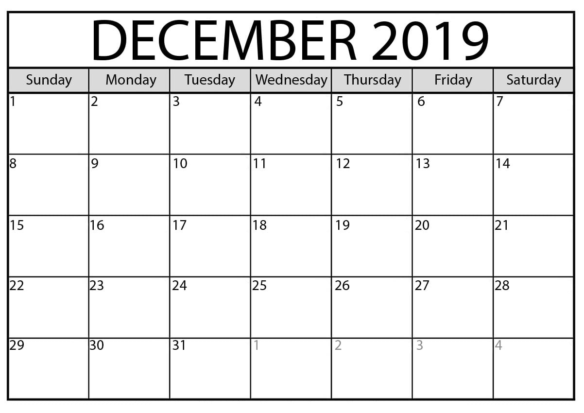 Blank Calendar December 2019 : For Exam Time Status | Free