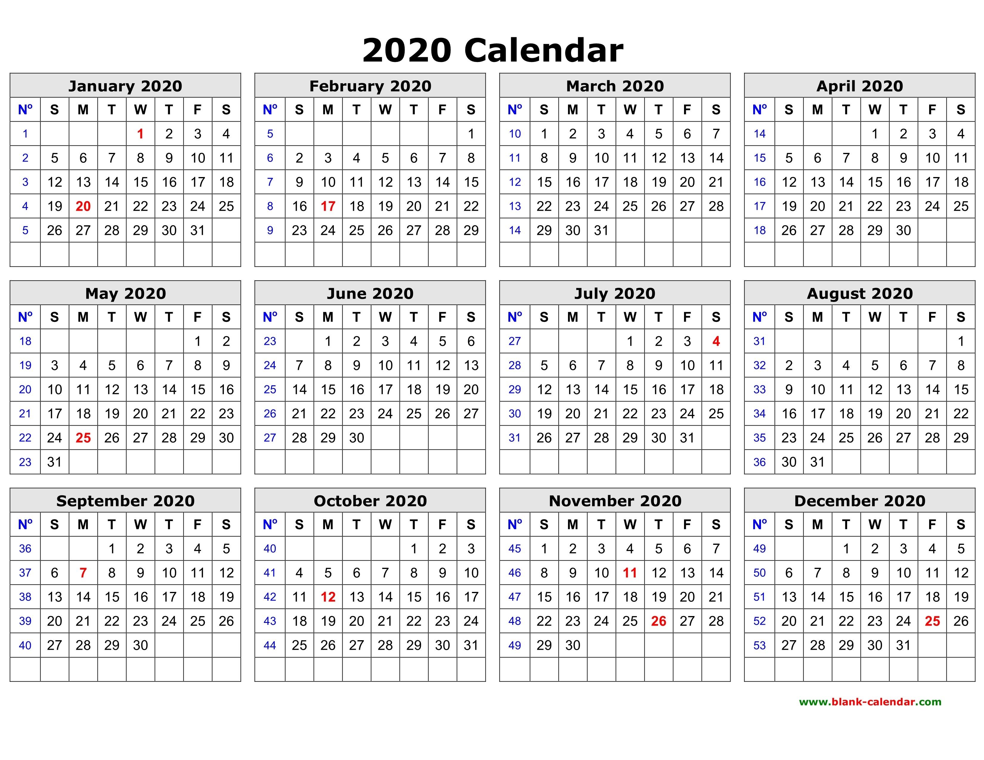Blank Calendar Excel 2020 | Calendar Template Information