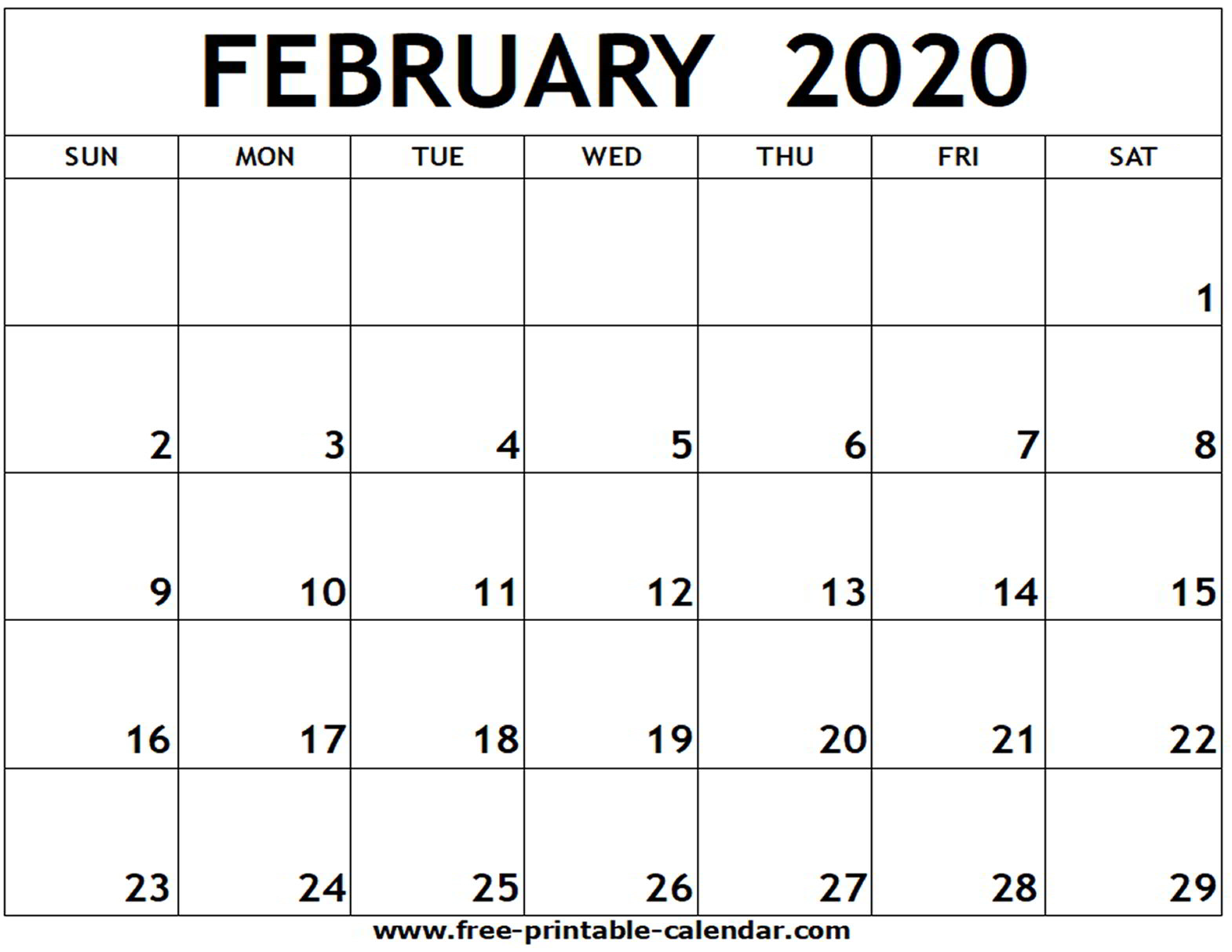 Blank Calendar For February 2020 - Yeter.wpart.co