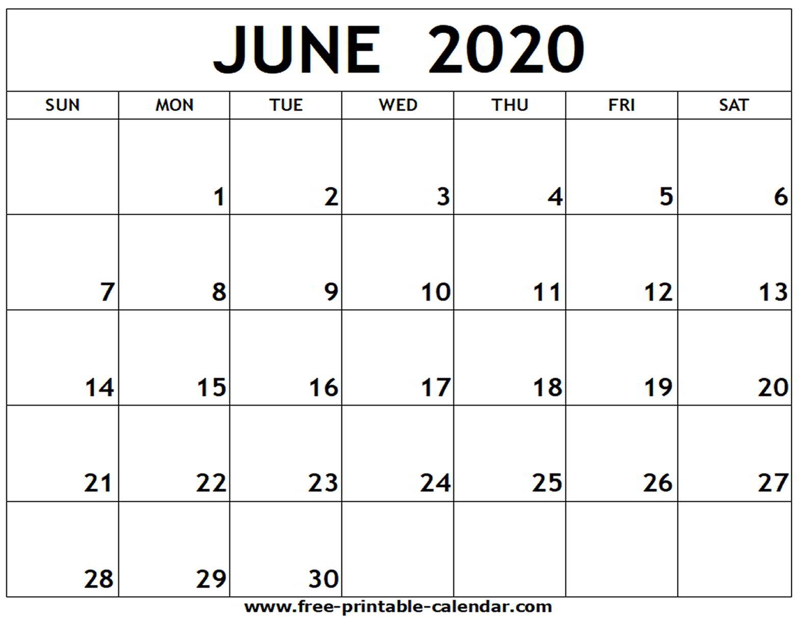 Blank Calendar For June 2020 - Wpa.wpart.co
