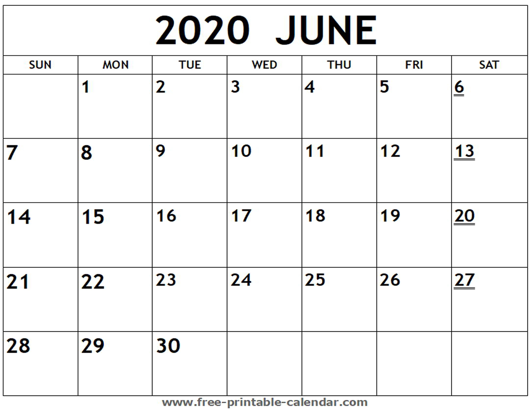 Blank Calendar For June 2020 - Wpa.wpart.co