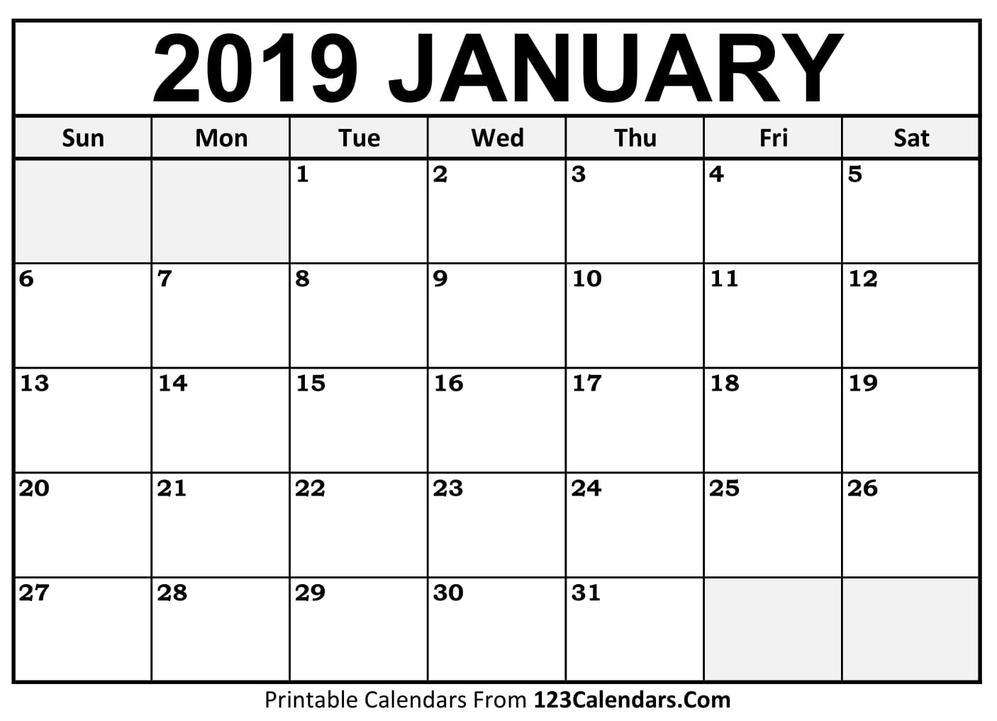 Blank Calendar Jan 19 | Calendar Template Information