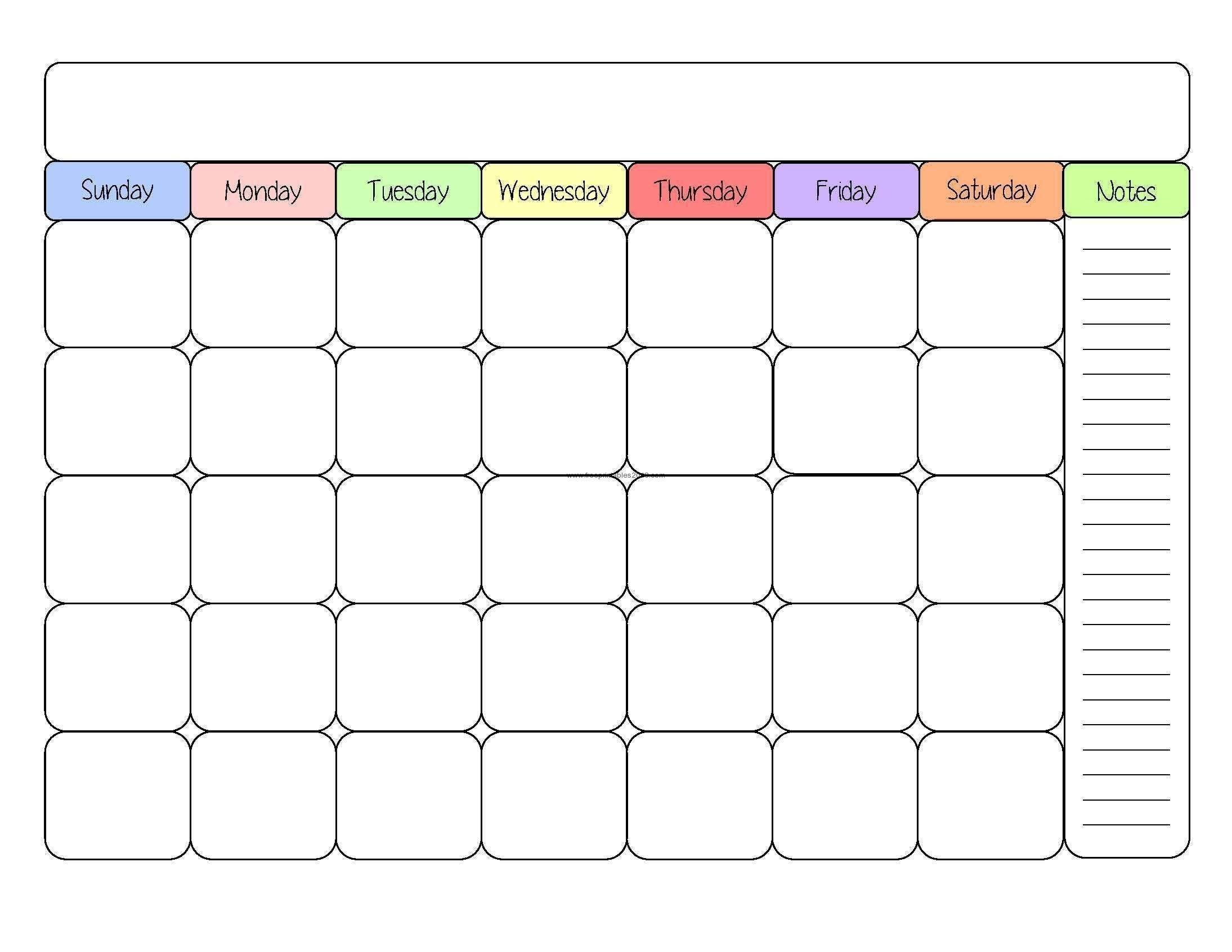 Blank Calendar No Year | Calendar Template Information