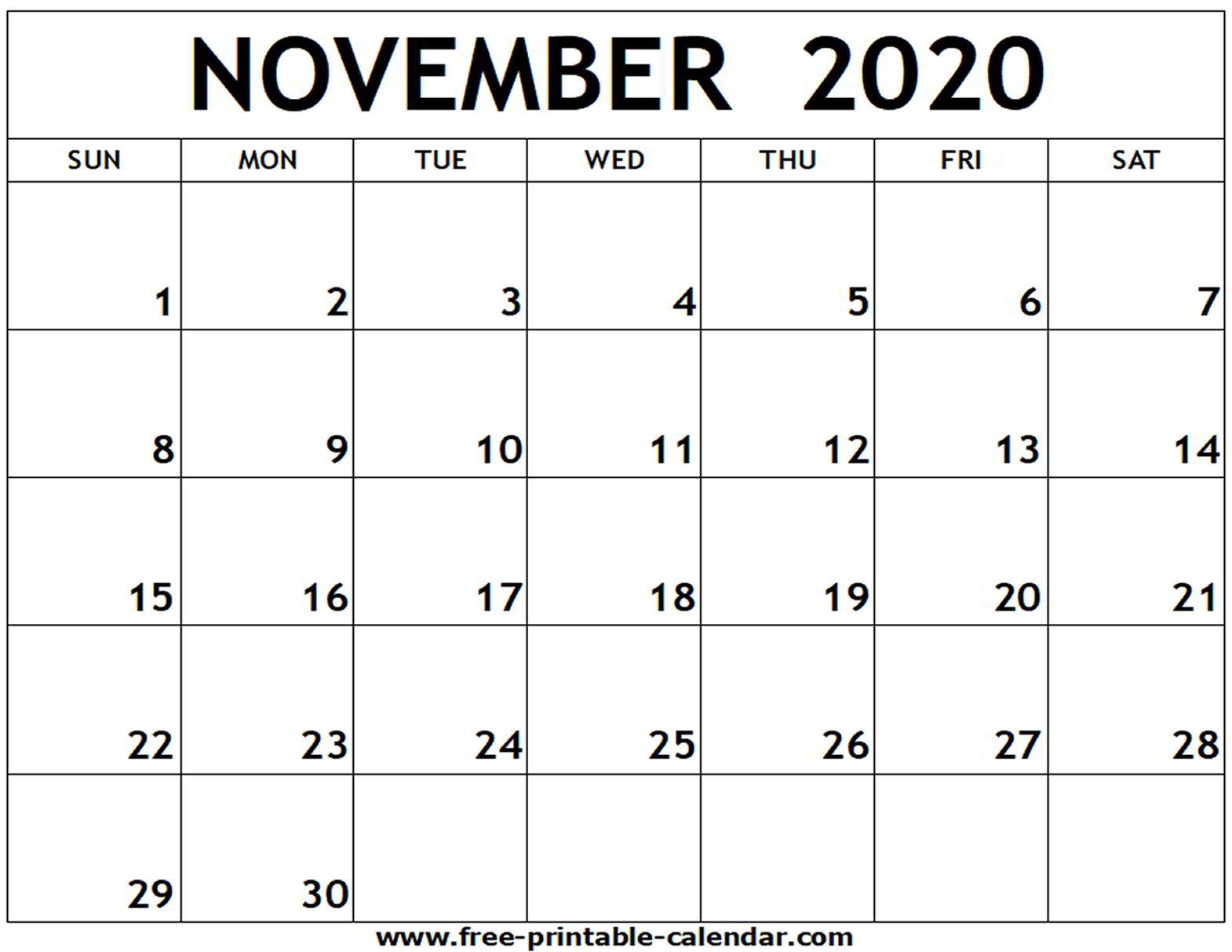 Blank Calendar November 2020 Pdf - Wpa.wpart.co
