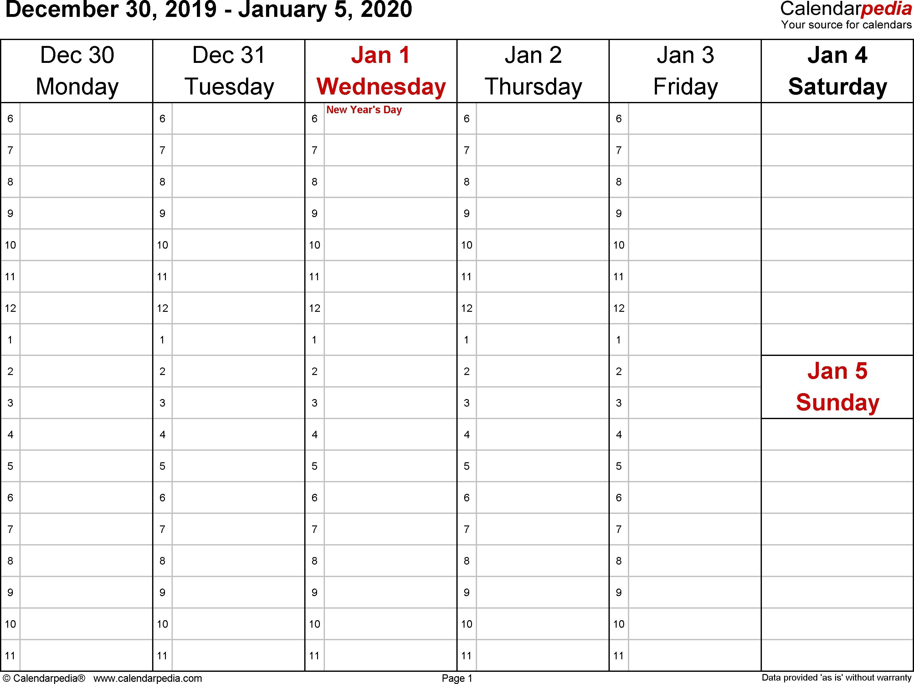 Blank Calendar Weekly 2020 | Calendar Template Information