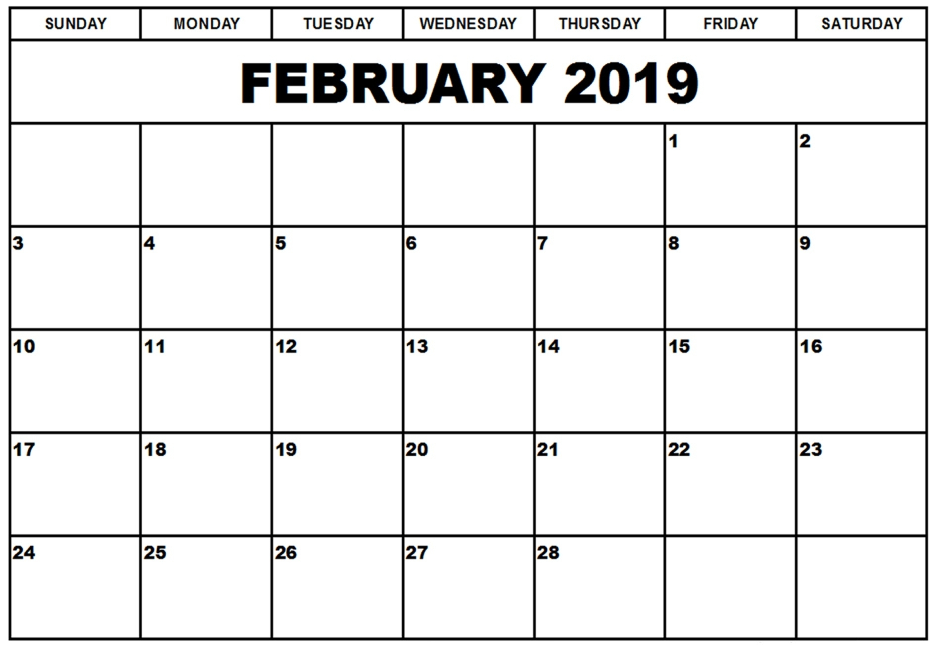 Blank Calender Template That I Can Type In | Monthly