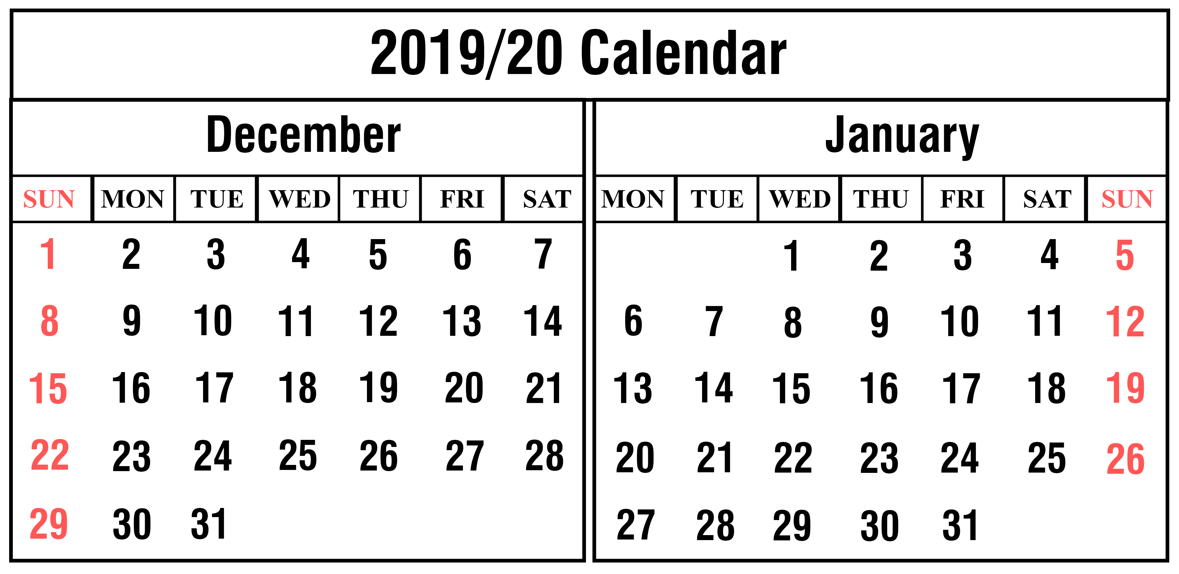 Blank December And January 2019-2020 Calendar Printable