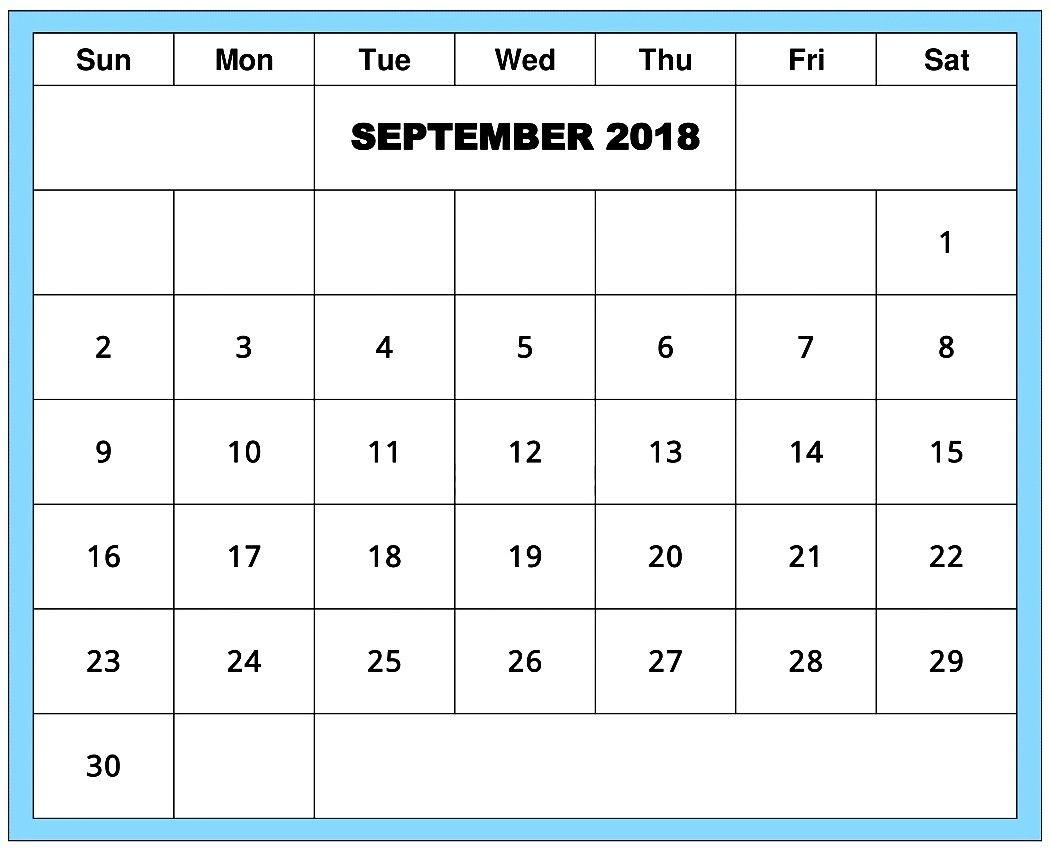 Blank Edit September 2018 Week Calendar | September 2019