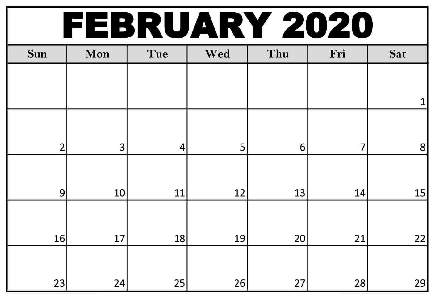Blank February 2020 Calendar Free Printable - 2019 Calendars