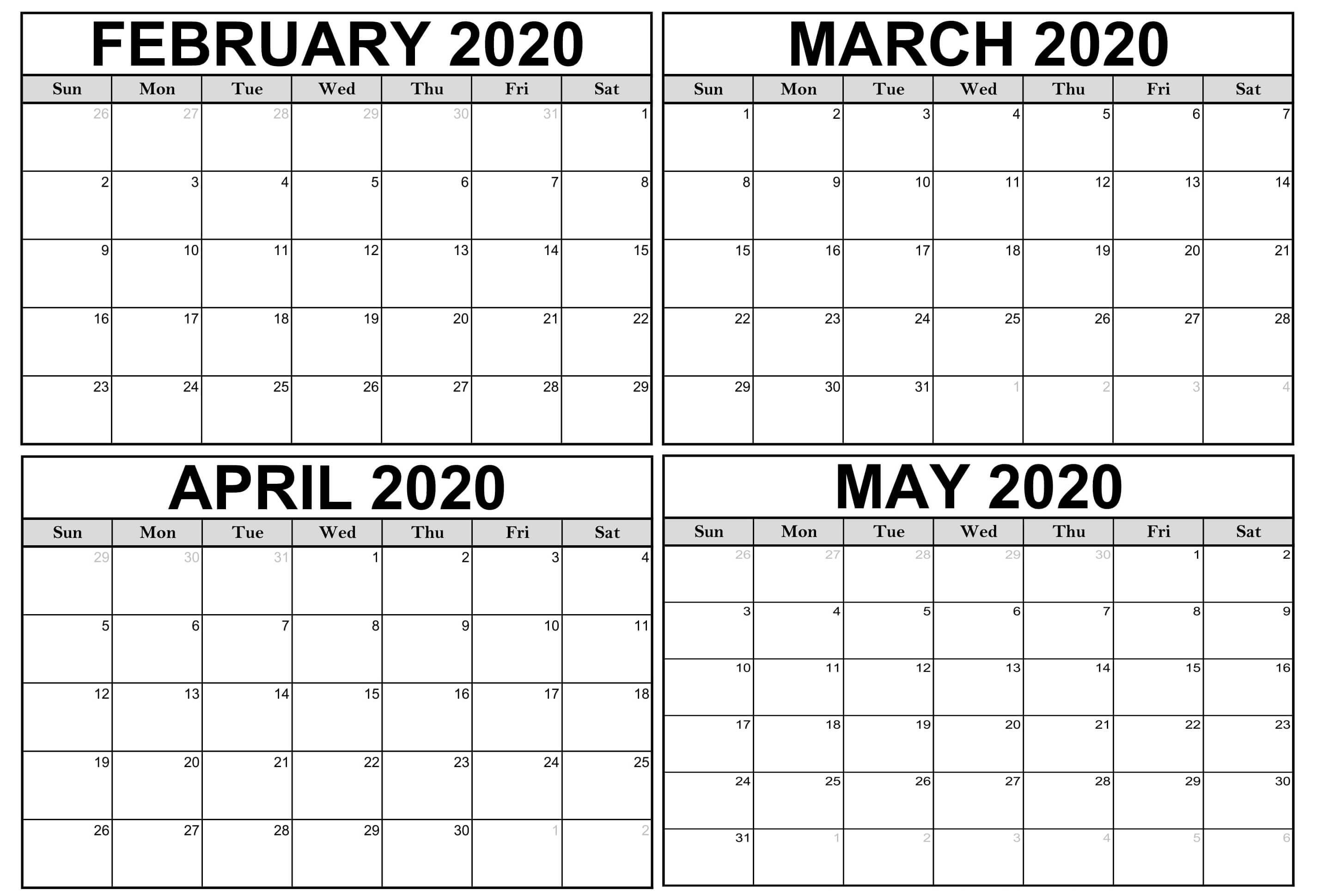 Blank February March Calendar 2020 Pdf - 2019 Calendars For