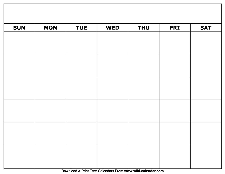 Blank Free Printable Calendar - Wpa.wpart.co