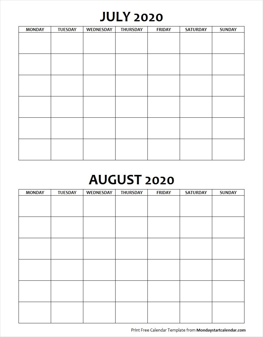 Blank July August 2020 Calendar Monday Start | Two Months