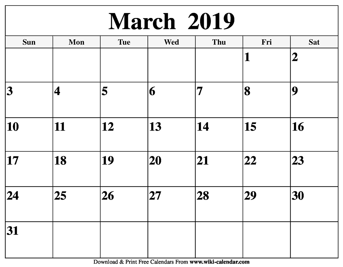 Blank March 2019 Calendar Printable - Gloria Wilson - Medium