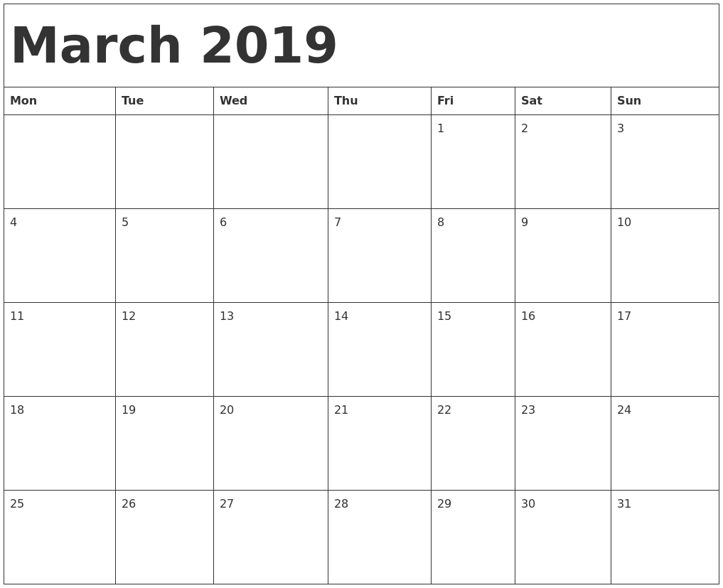 Blank Monthly Calendar March 2019 - Free Printable Calendar