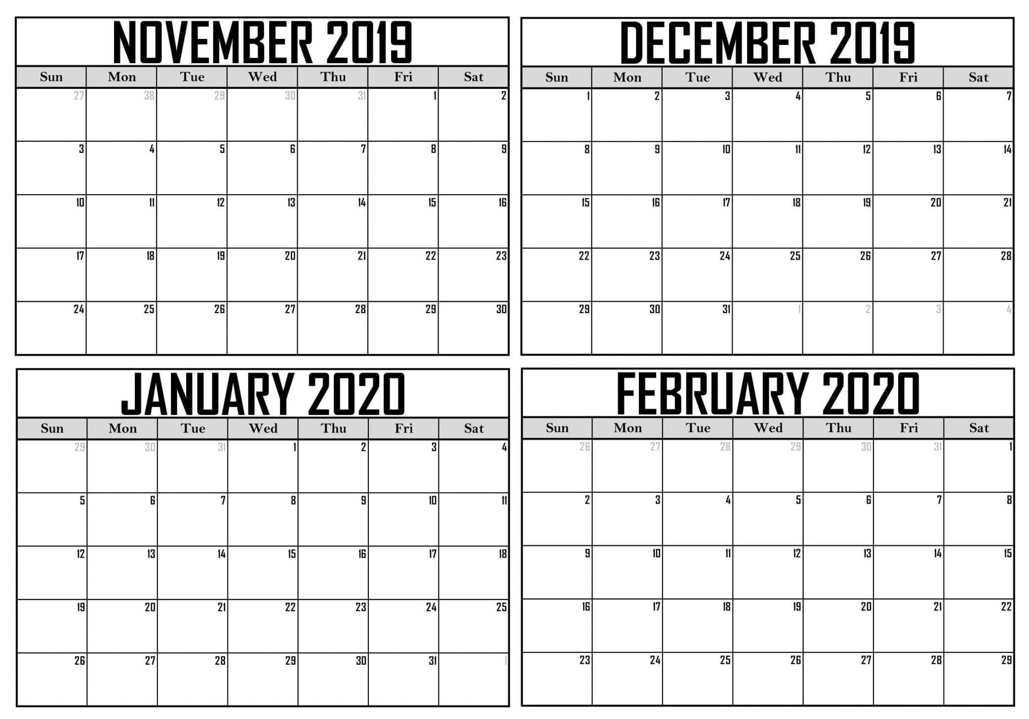 Blank November 2019 To February 2020 Calendar - 2019