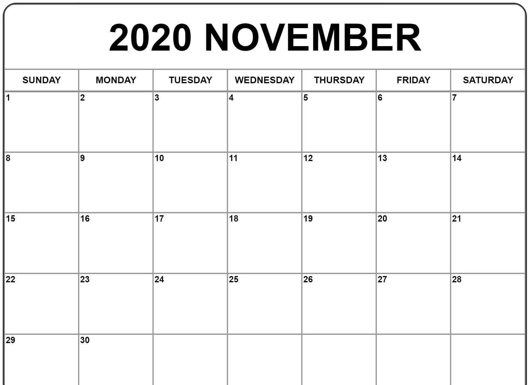 Blank November 2020 Calendar Printable - Wpa.wpart.co