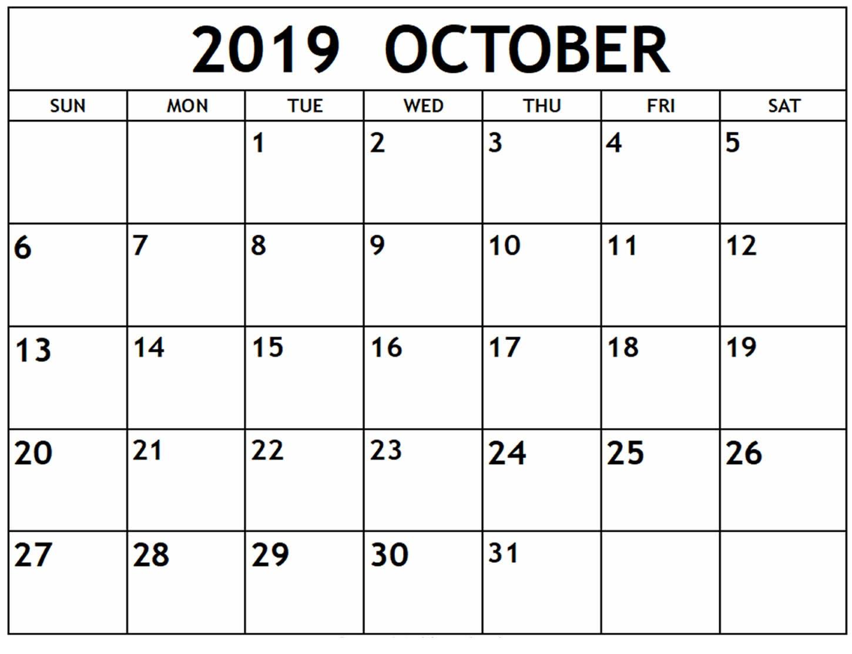 Blank October 2019 Calendar Printable Template - Latest
