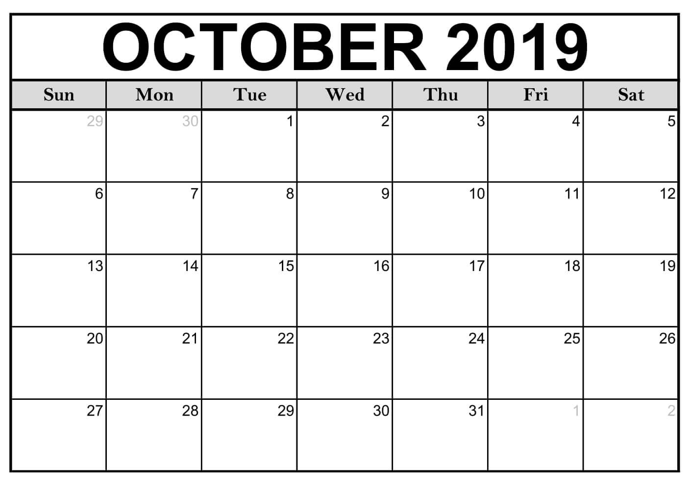 Blank October 2019 Calendar Printable Template - Latest