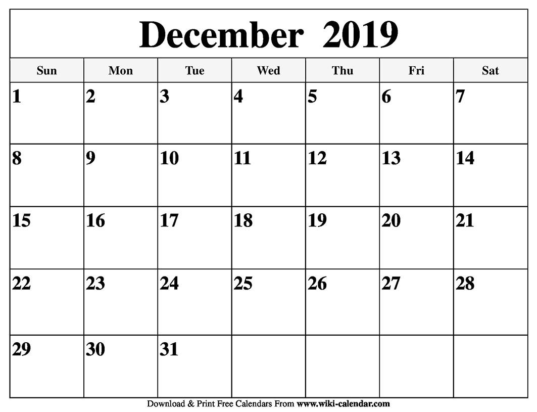Blank Printable Calendars December 2019 | Example Calendar