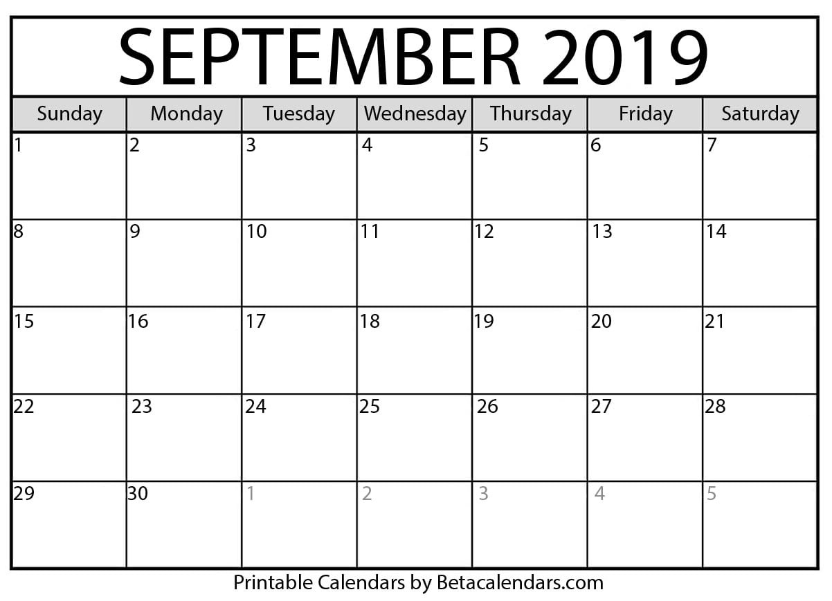 Blank September 2019 Calendar Printable - Mateo Pedersen