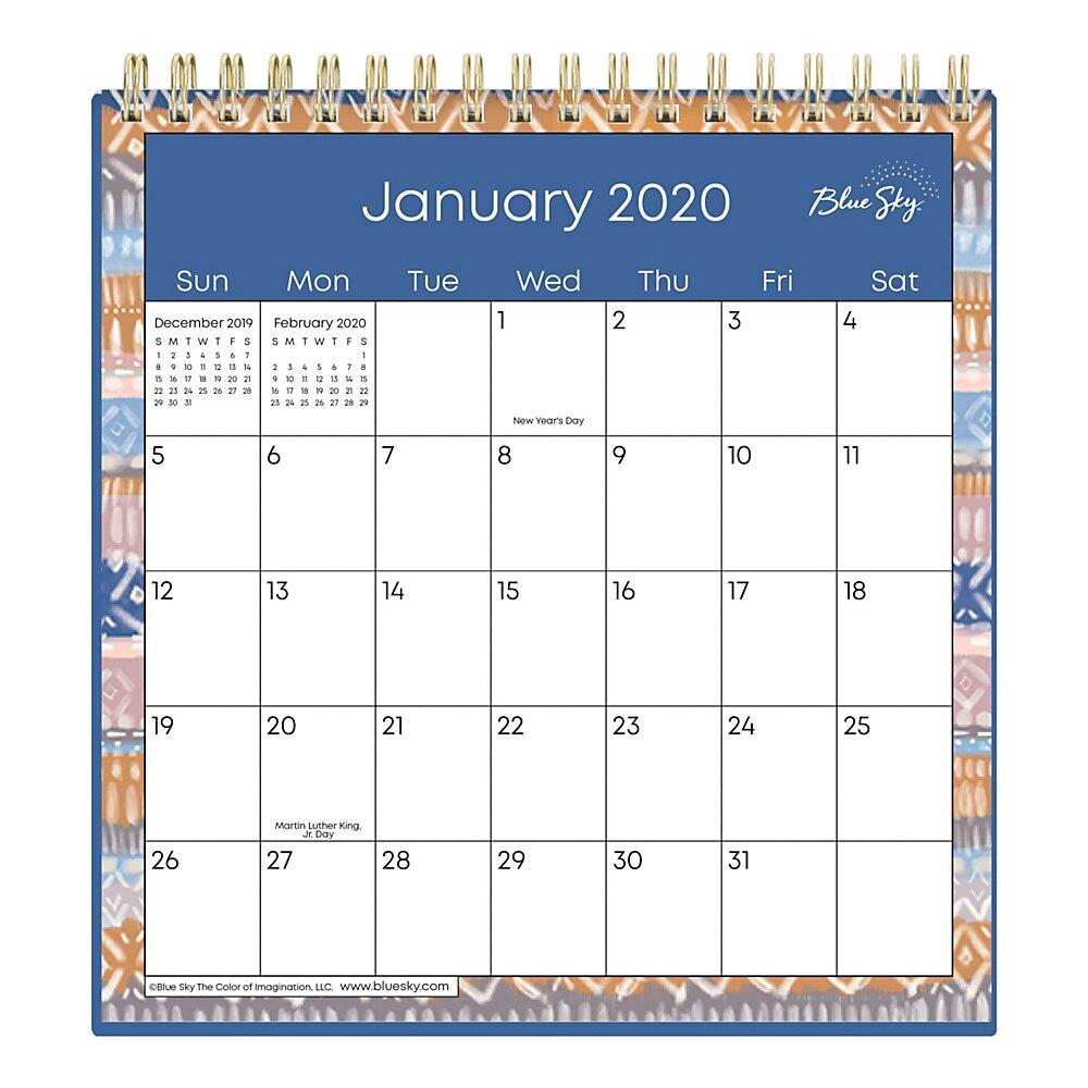 "Blue Sky™ Wirebound Desk Calendar With Stand, 6"" X 6"", Jasper, January To  December 2020"