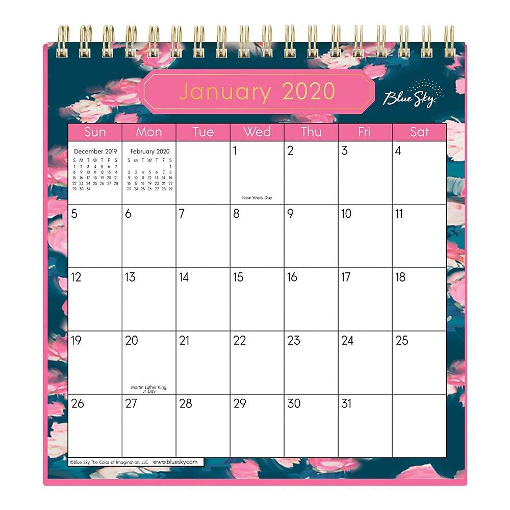 "Blue Sky™ Wirebound Desk Calendar With Stand, 6"" X 6"", Rosine, January To  December 2020"