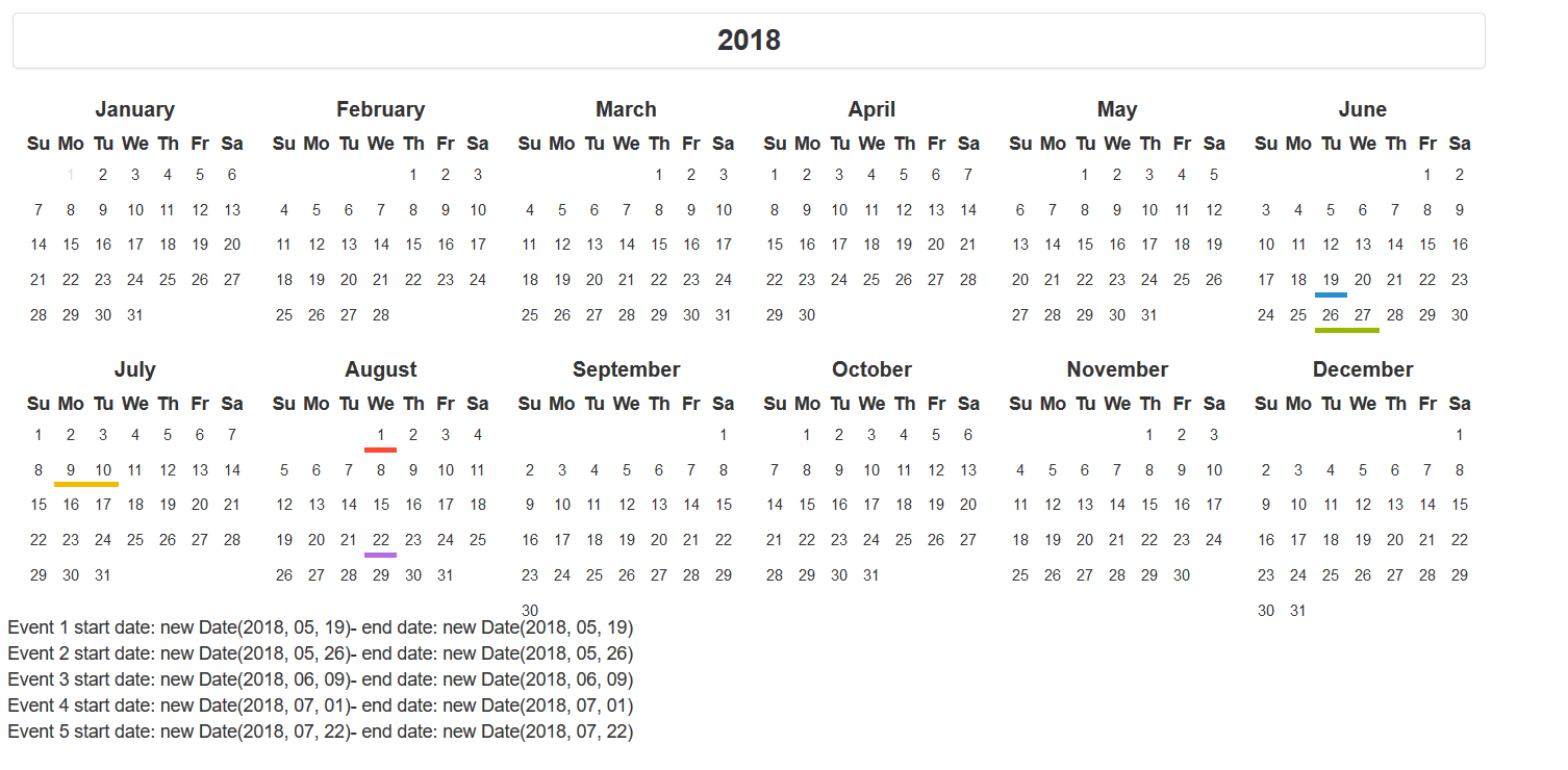 Boostrap Year Calendar Yii2 Extension - Month Parsing Issue