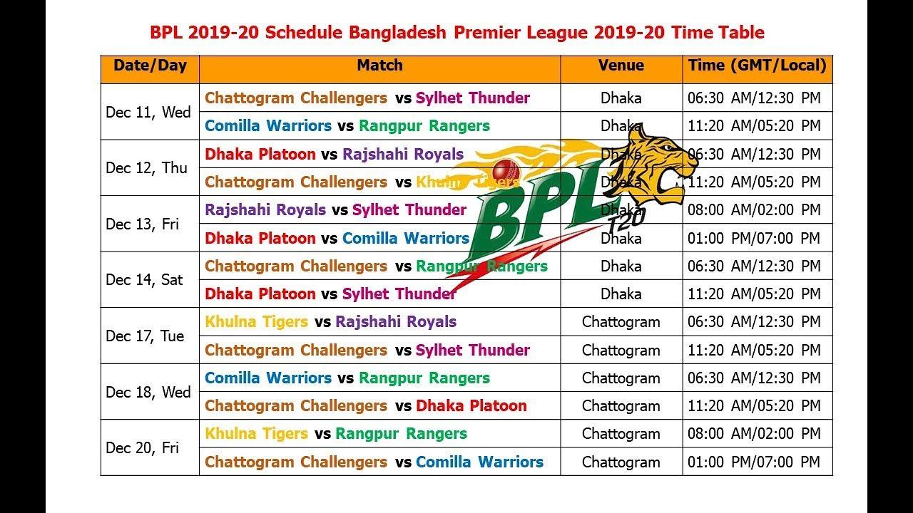 Bpl 2019-20 Schedule Bangladesh Premier League 2019-20 Time Table