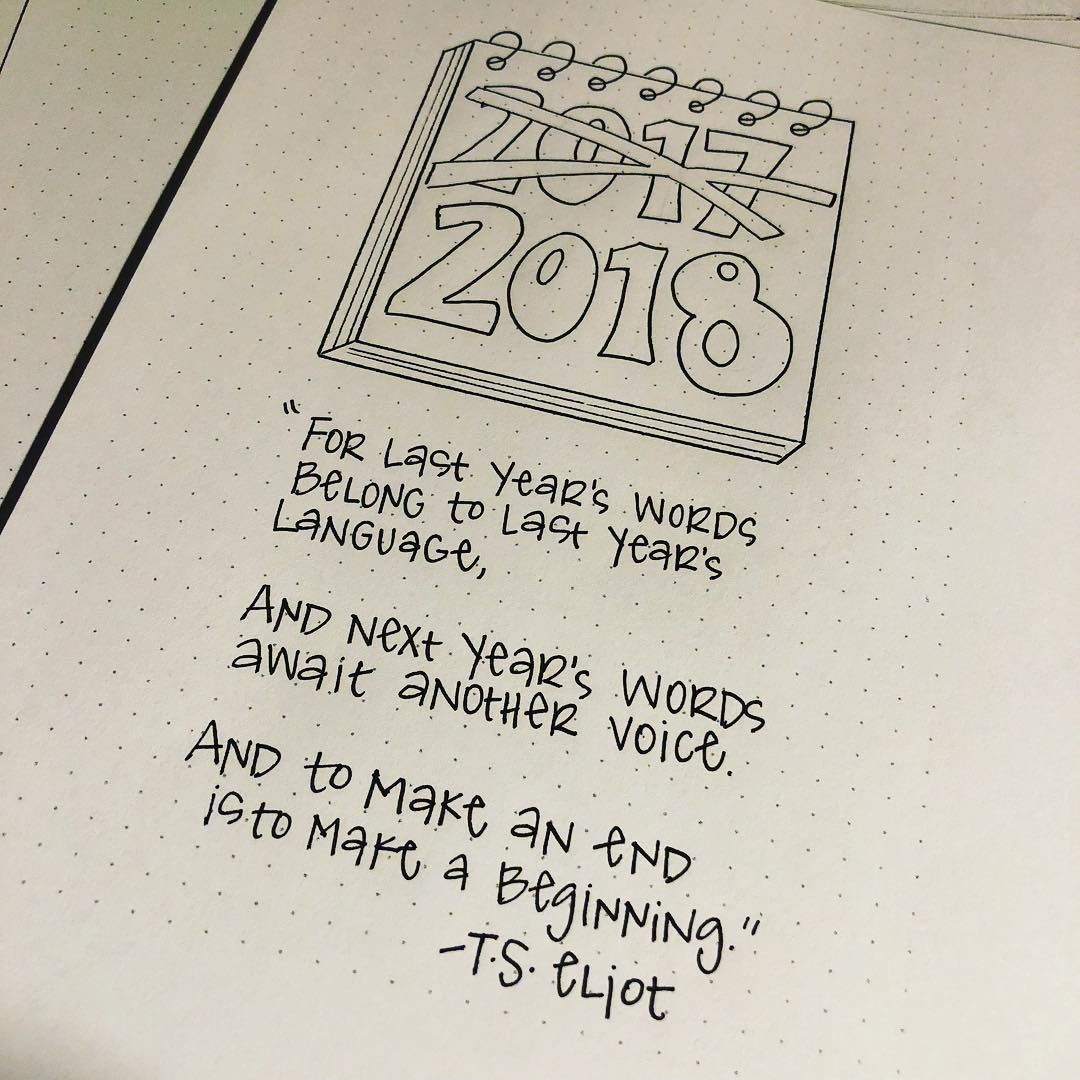 Bullet Journal Yearly Cover Page, New Year Quotes. @nerdy