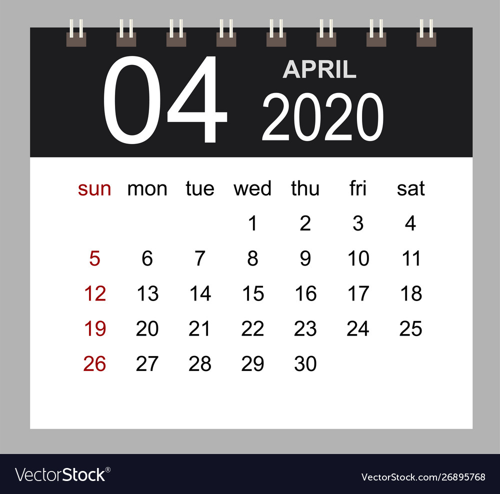 Business Calendar 2020 April Notebook Isolated