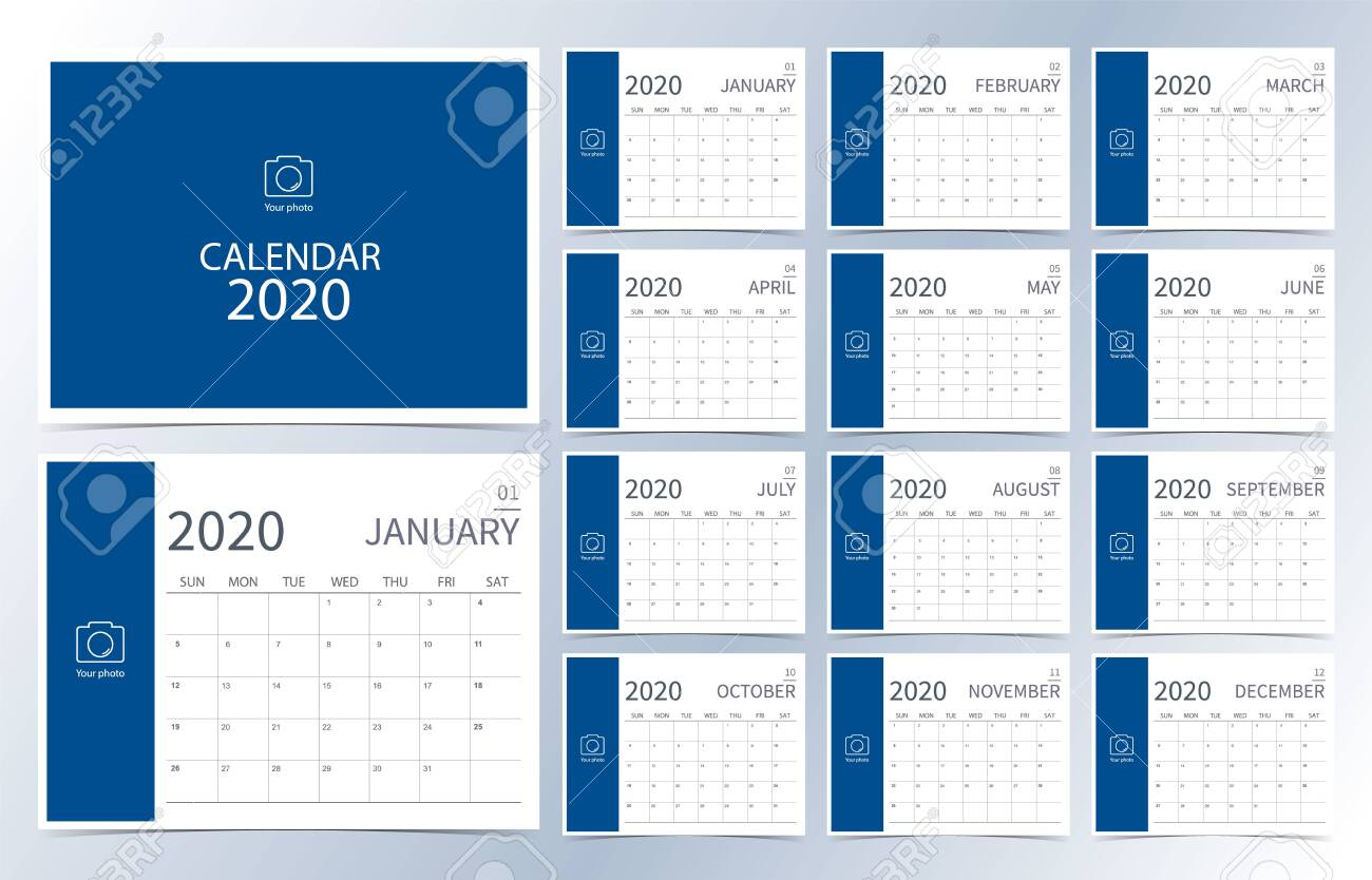 Business Calendar 2020.dark Blue Monthly Calendar Can Be Used..