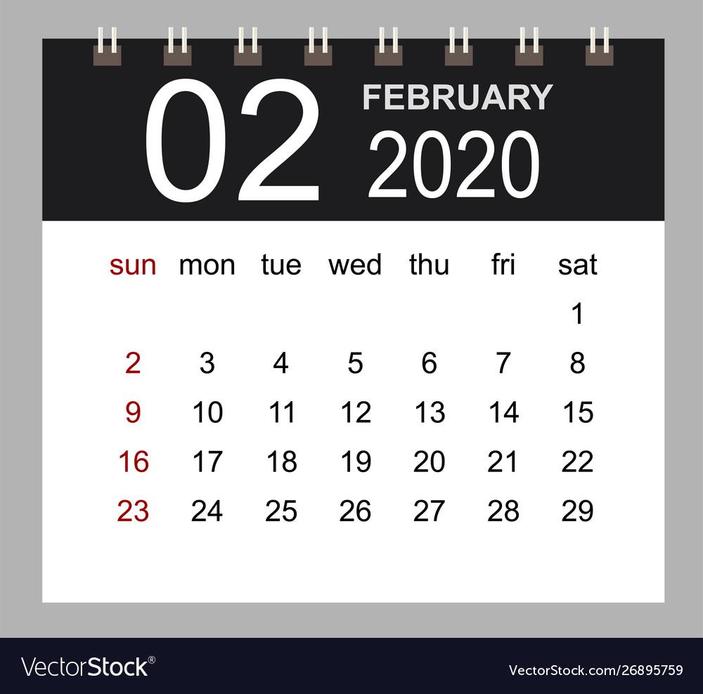 Business Calendar 2020 February Notebook