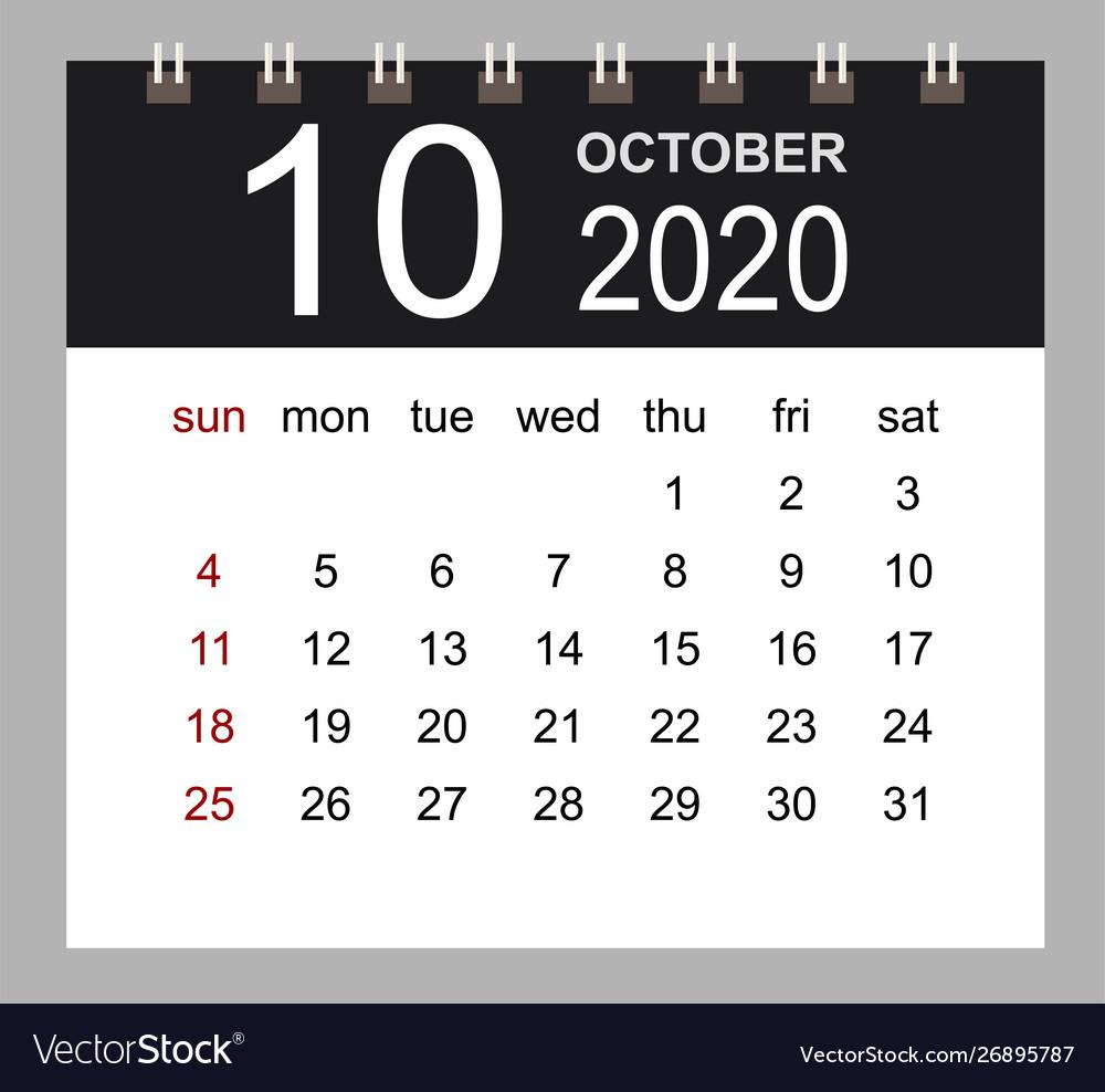 Business Calendar 2020 October Notebook