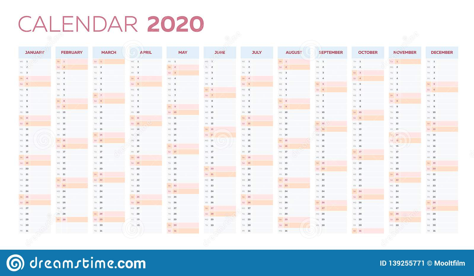 Business Planner Calendar Vector Template For 2020 Year