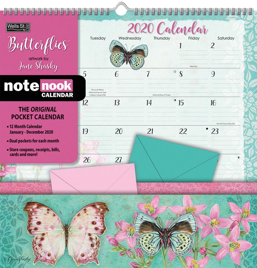 Butterflies 2020 Note Nook Pocket Calendar