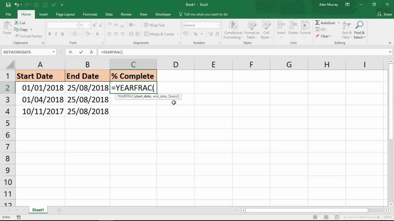 Calculate Percentage Of Year Complete - Excel Formula