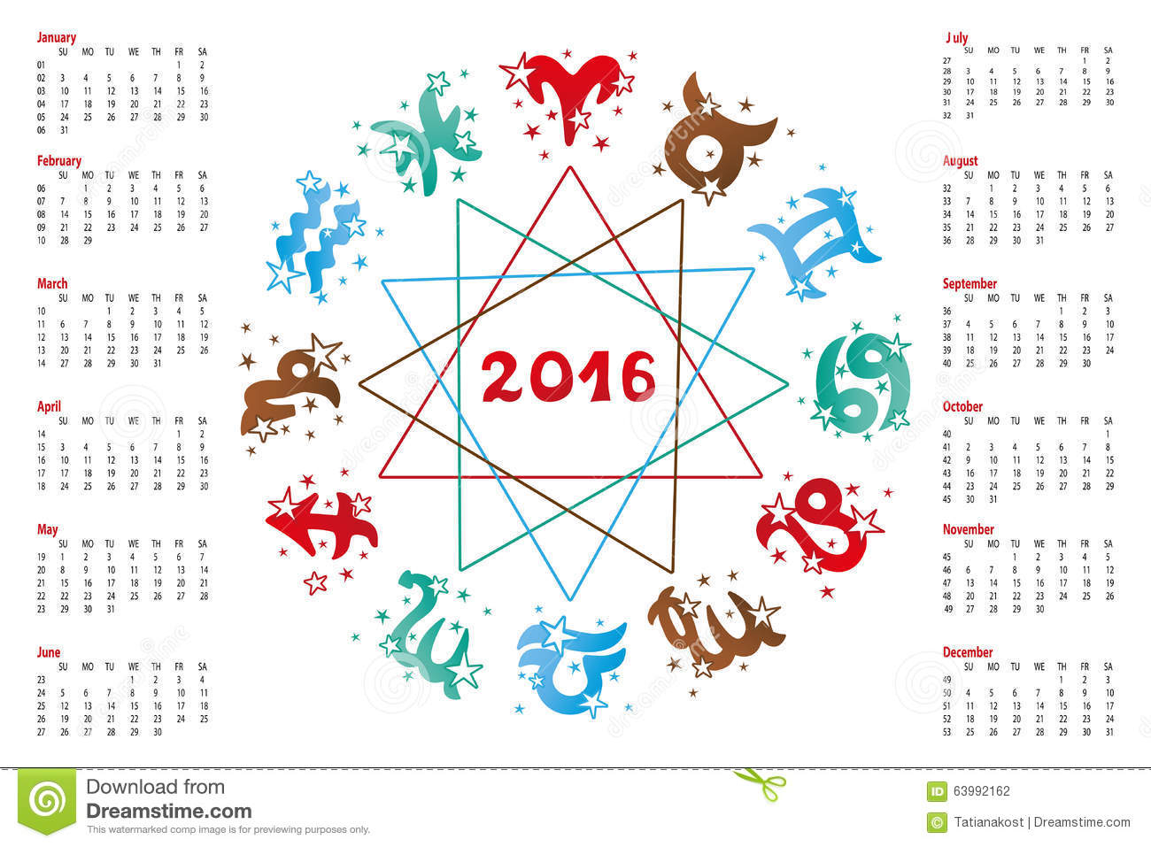 Calendar 2016.horoscope Zodiac Sign Stock Vector