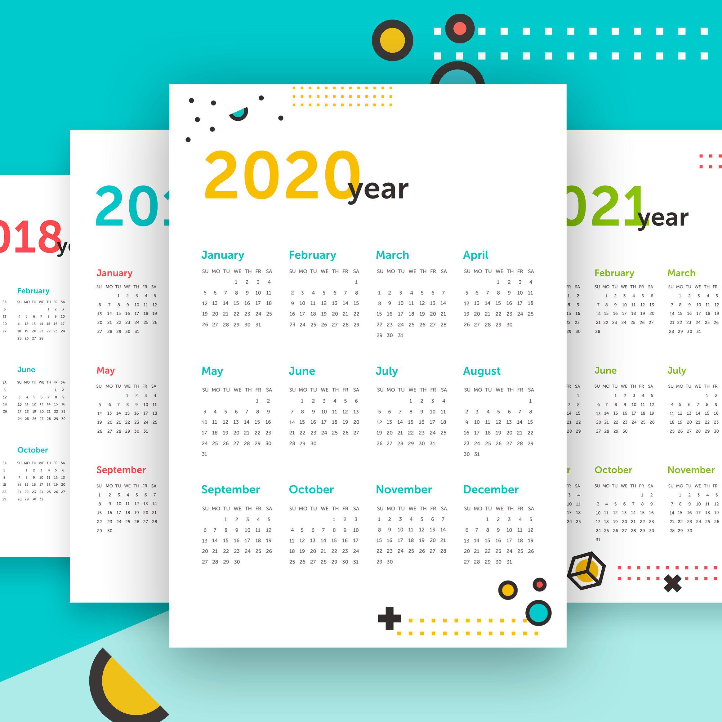 Calendar 2018 2019 2020 2021 Planner Printable Wall