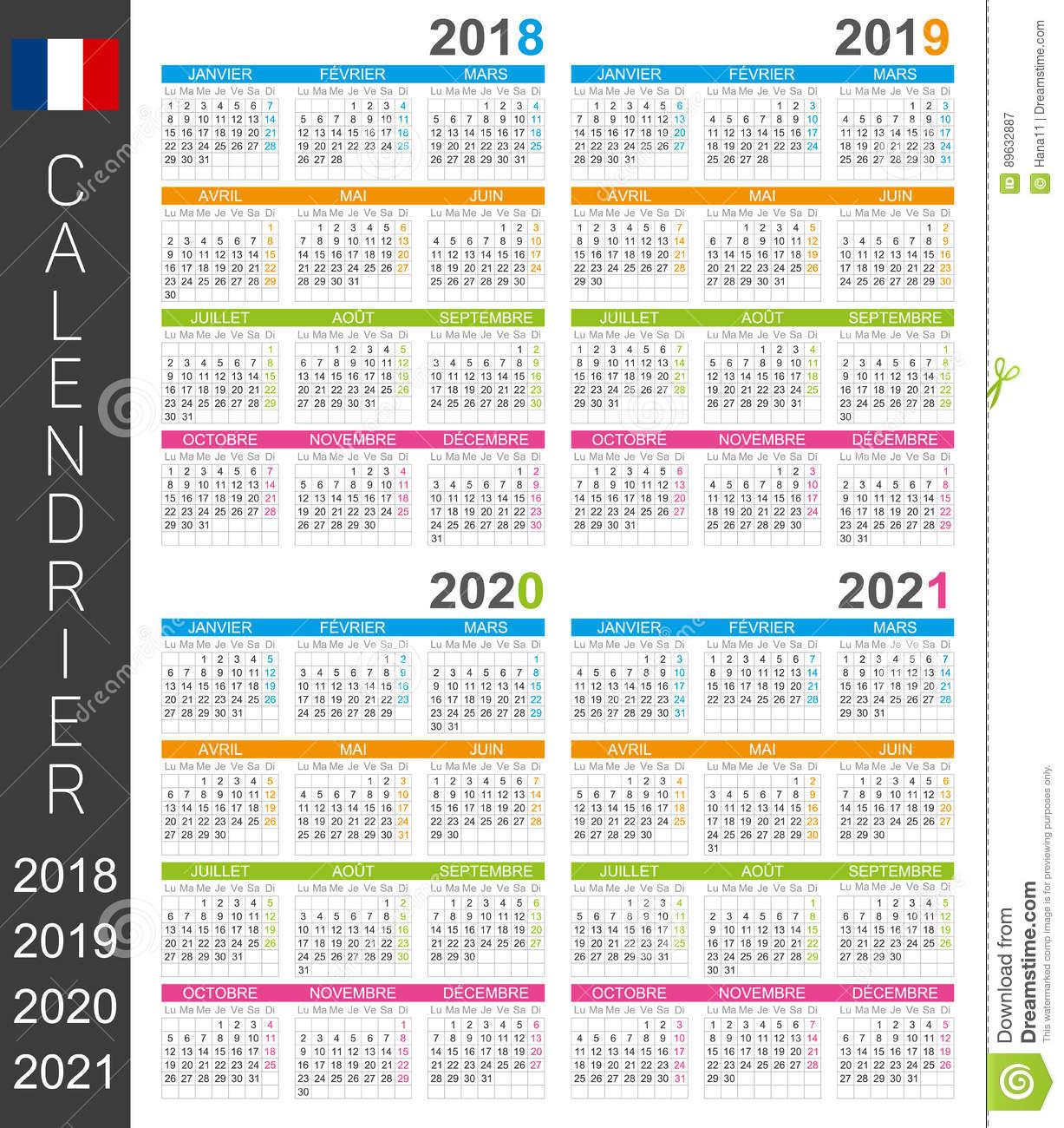 Calendar 2018-2021 Stock Illustration. Illustration Of