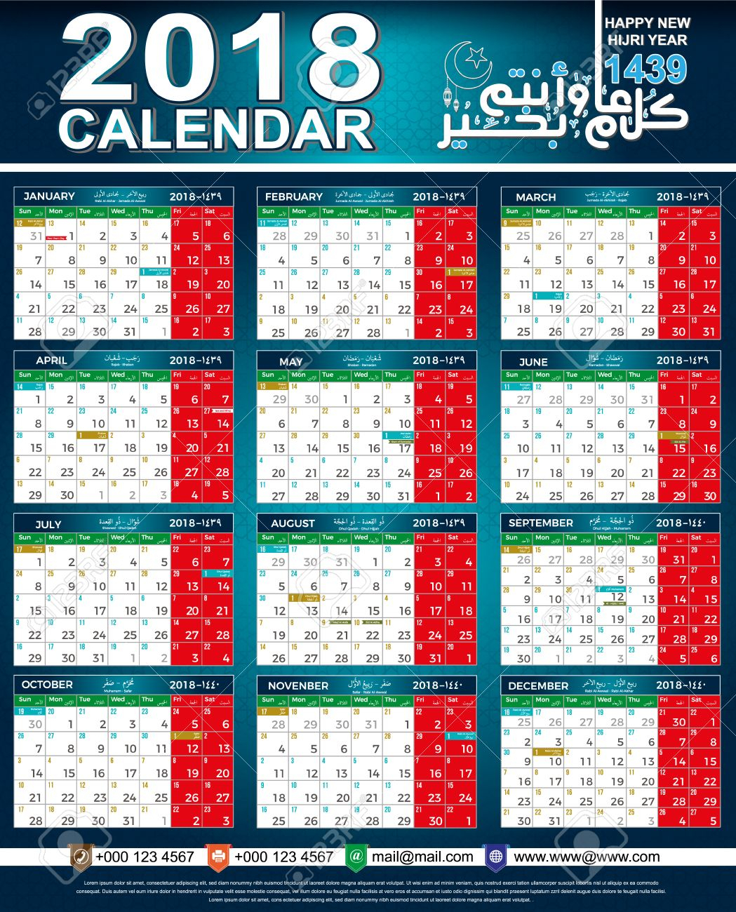 Calendar 2018 - Hijri 1439 Islamic - Arabic & English Dates -..